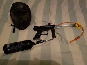 Paintball Gun semi Auto Icon X Cal.68 with hose, tank and mask.
