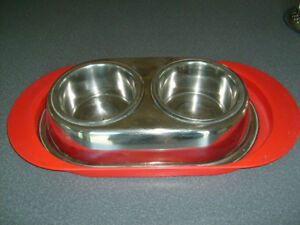 Stainless steel dishes for your dog.