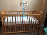 Mamas & Papas Cotbed + free John Lewis mattress