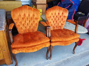 Two Beautiful Orange-Velvet French Provincial Matching Arm Chair