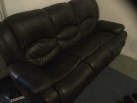 Leather reclining suite (brown) £250 ono