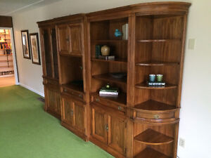 """Oak Wall Unit overall 10' 8""""wide 7'6"""" tall 16""""-19"""" deep 5 Pieces"""