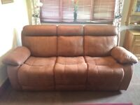 3 Seater recliner sofa settee, less than 1year old. Brown faux suede. Bargain.