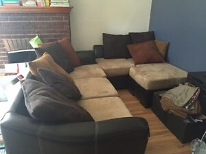 Micro suede and leather sectional couch