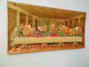"WOOD CARVING MURAL ""LAST SUPPER'' West Island Greater Montréal image 3"