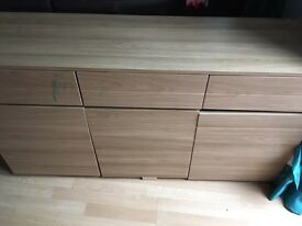 6 assorted items of furniture. Light/Beech colour. Sideboard, bookshelves, units.