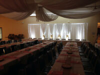 Wedding back drop & lighting rentals
