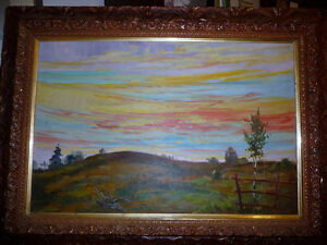 "Vintage Oil by Peter Stoyan (Stoyanoff) ""Sunset"", AOCA, 1952 Stratford Kitchener Area image 1"
