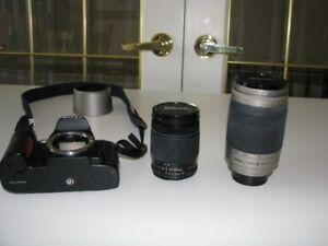 Nikon F80 Film Camera + Nikon 70-300mm and 28-80mm Zoom Lenses