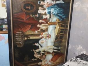 Old English wedding reception painting, 4.5' X 6.5'
