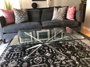 RESTORATION HARDWARE GLASS COFFEE TABLE EXCELLENT