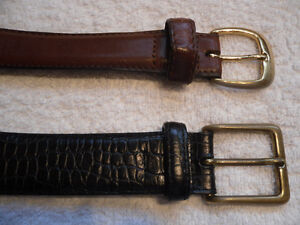 brown leather belt - solid brass buckle - size 36