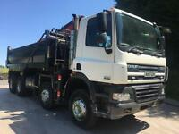 2007 DAF CF85.360 Euro 5 8x4 steel tipper, Epsilon E120L crane and grab,