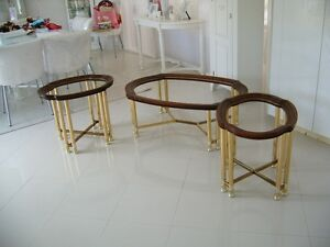 BRASS, WOOD AND GLASS COFFEE AND END TABLES