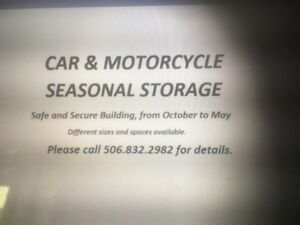 Winter storage for cars and motorcycles Saint John/Hampton area