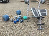 Work bend two sets of weights, medicine ball various weights