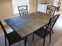 LARGE MODERN SLATE/WROUGHT IRON DINING TABLE SET WITH 4 CHAIRS