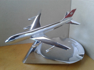 Swissair original ashtray in chrome with Swissair airplane