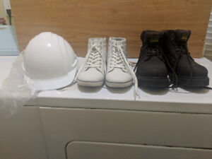 Shoes (size 9)  and  Safety Hat for sale