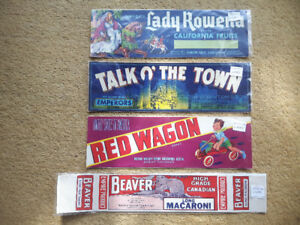 Small Lot of VINTAGE Crate Labels; Fruit / Macaroni
