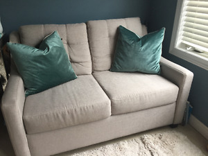 Condo-Sized LOVE SEAT + GLASS END TABLE