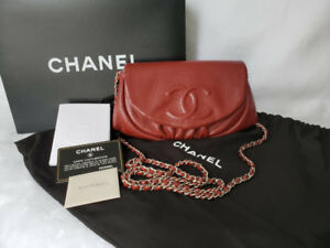 100% Authentic Chanel Half Moon Wallet On Chain WOC dark red