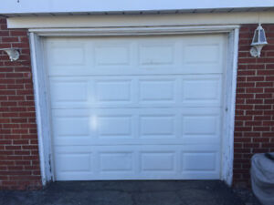 8' x 7' Used White Garage Door including Door Opener