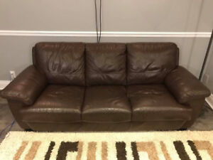 Genuine leather sofa couch chocolate brown