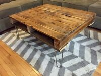 Recycled & Reclaimed Barn Wood Coffee Table on Hairpin Legs
