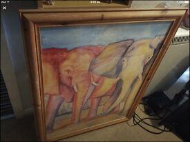 Framed elephant picture pine frame large
