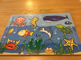 Under water wooden jigsaw puzzle in frame