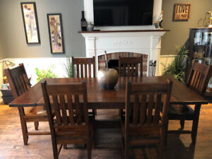 SEVEN piece kitchen or dinning room set, SOLID rustic wood