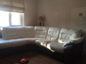 Brown/cream leather corner couch and swivel chair