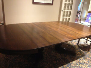Antique Dining Table, 6 Chairs
