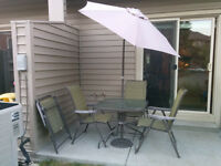 Compact Patio Set - Quality Metal and Glass with umbrella, BBQ