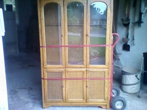 Solid wood/glass lighted panel hutch/bookcase for sale