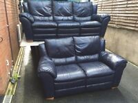 3 & 2 Keens full blue leather sofa set - 3 seater has recliners