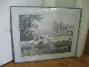 "CHARMING OLD VINTAGE PRINT..""A WALK with the GEESE"""