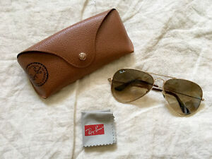 Authentic Ray-Ban Brown Gradient Unisex Aviator Sunglasses
