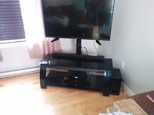 Glass TV stand with floating tv mount