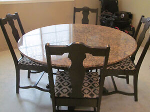 WANT QUALITY? GRANITE TABLE WITH OR WITHOUT 6 ANTIQUE CHAIRS