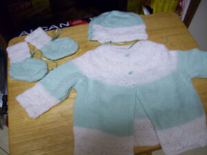 Hand knit newborn outfit