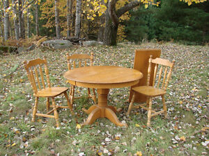 Maple Pedestal Table and 3 chairs
