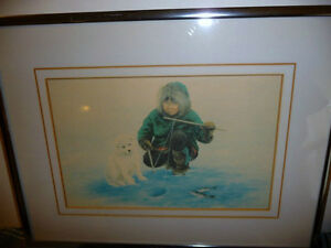 """Inuit Painting by Dorothy Francis """"Little Fisherman"""" Lithograph Stratford Kitchener Area image 1"""
