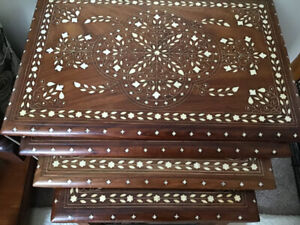 4 Nesting tables (Teak wood) detailed off white inlay
