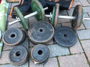 dumbells with plates
