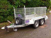 8x4 twin axle trailer with mesh sides aluminium floor tuffmac