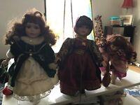 3 Leonardo collection porcelain dolls