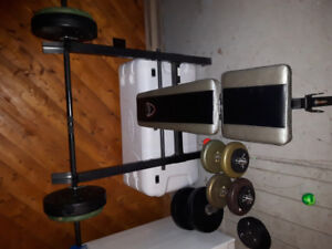 Exercise equipment weight bench and weights