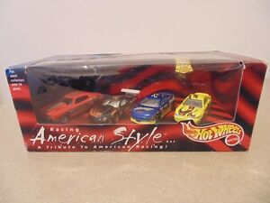 HOT WHEELS 4 CAR SET AMERICAN STYLE 99 MUSTANG 70 CHEVELLE SS OL